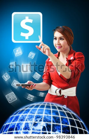 Secretary touch the Money icon from mobile phone : Elements of this image furnished by NASA - stock photo