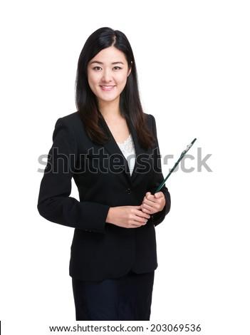 Secretary with clipboard - stock photo