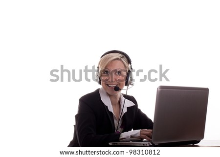 Secretary with headset and laptop - stock photo