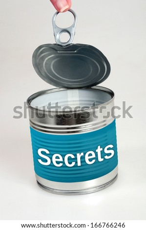 Secrets word on food can - stock photo