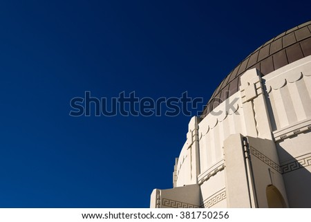 section of Griffith observatory, LA - stock photo