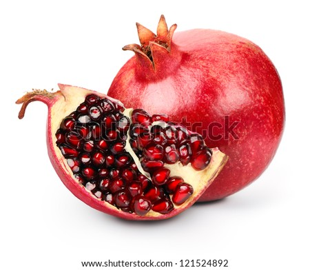 Section of pomegranate  isolated on white background
