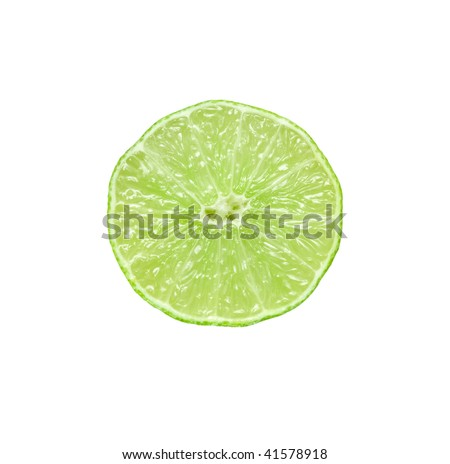 Section of ripe lime. Isolated over white. - stock photo