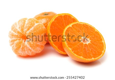Section of seedless satsuma mandarin (Citrus unshiu) - stock photo