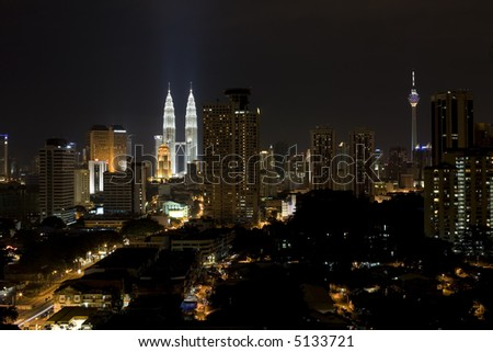 Section of the Business District of Kuala Lumpur showing the famous twin towers