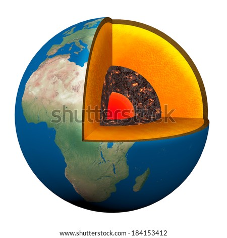 section of the planet earth with lava, nucleno, the Earth's crust - stock photo