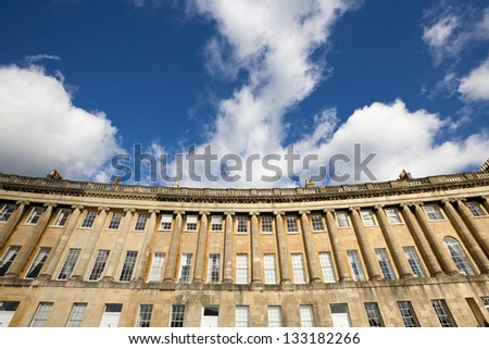Section of the terraced Georgian properties on the Royal Crescent in Bath Somerset - stock photo