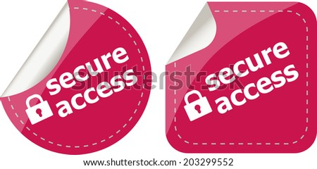 secure access with lock on stickers set isolated on white - stock photo
