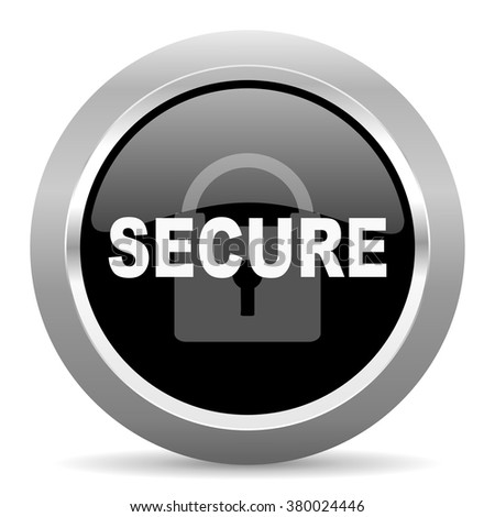 secure black metallic chrome web circle glossy icon - stock photo