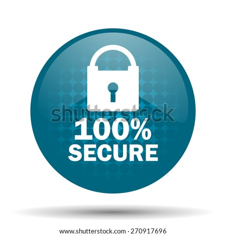 secure blue glossy web icon  - stock photo