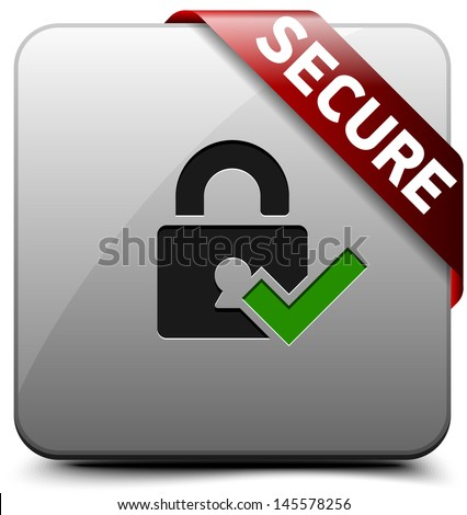 Secure button - stock photo