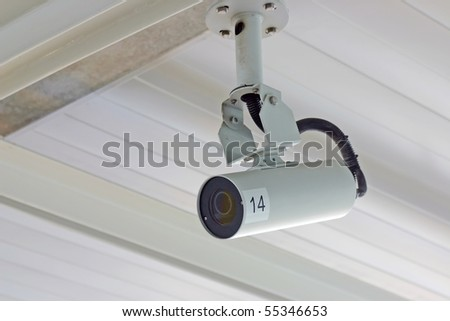 Secure camera under the roof.