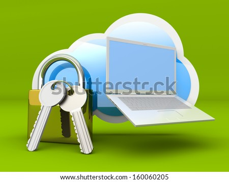Secure cloud computing. 3D rendered illustration.