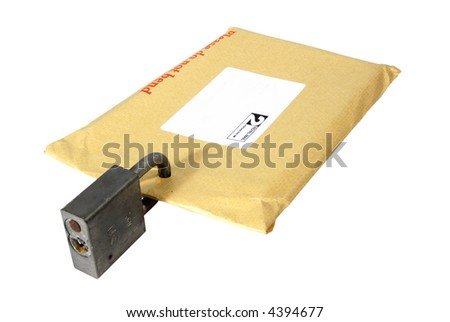 Secure delivery - padlocked letter, isolated on white with clipping path - stock photo