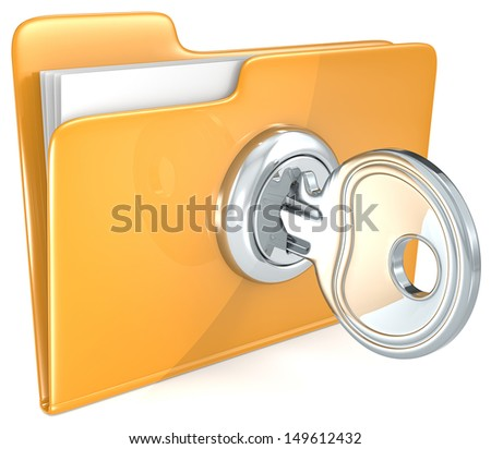 Secure files. Folder with Key.  - stock photo