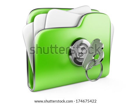 Secure files. Green folder with Key in cloud shape handle. ecological concept - stock photo