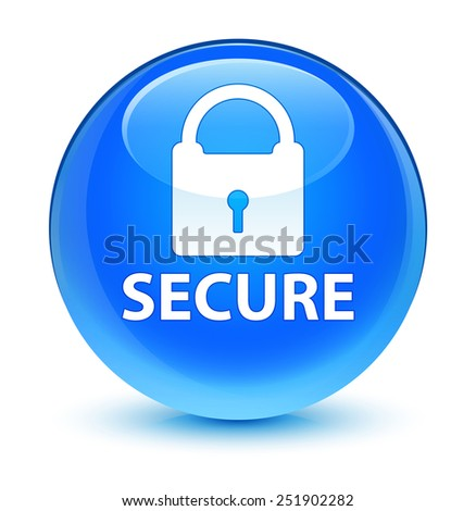 Secure glassy blue button - stock photo