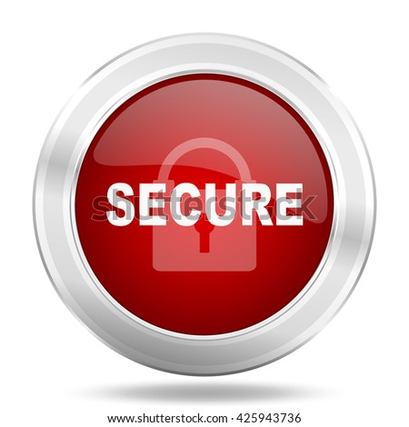 secure icon, red round metallic glossy button, web and mobile app design illustration - stock photo