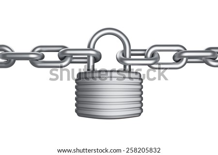 Secure lock and chain - stock photo