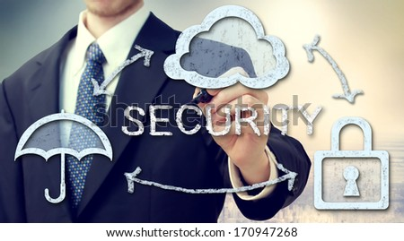 Secure online cloud computing concept with businessman