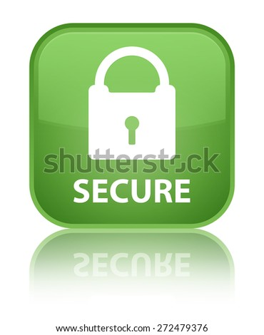 Secure (padlock icon) soft green square button - stock photo