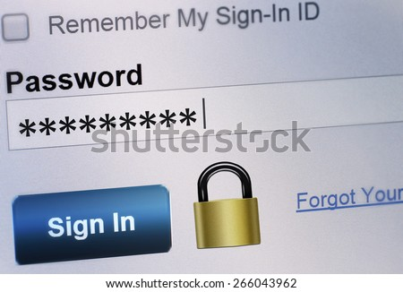 secure password typing, login sequence - stock photo