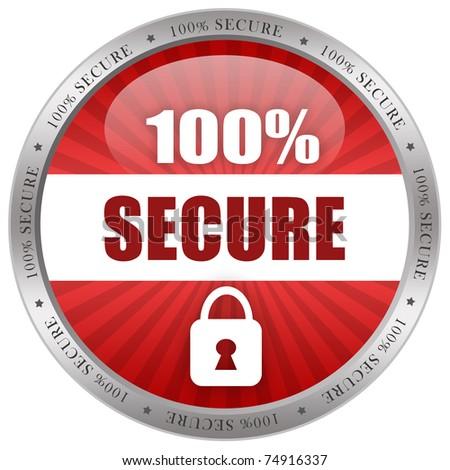Secure shiny icon - stock photo