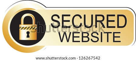 Secured Website Sign Gold - stock photo