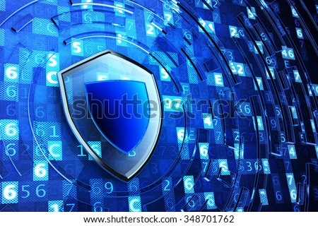 Securing, network firewall, computer data protection and information security concept, shield defense on blue technology background with digital code - stock photo