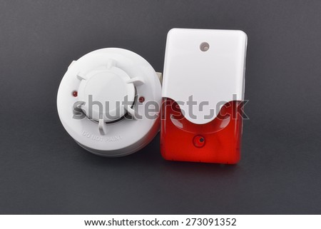 security alarm systems. Industrial or house alarm. Interior flash siren and smoke detector. - stock photo
