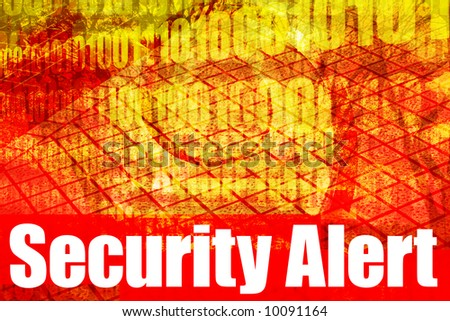 Security Alert Warning Message on abstract technology background - stock photo
