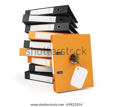 security binder and folders on a white background - stock photo