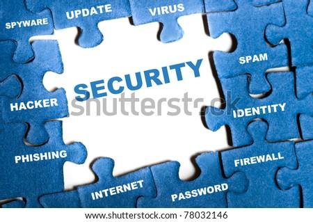 Security blue puzzle pieces assembled - stock photo