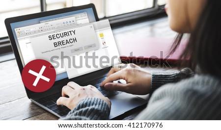 Security Breach Cyber Attack Computer Crime Password Concept - stock photo