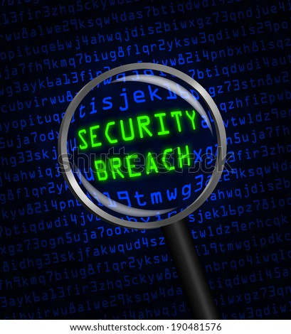 SECURITY BREACH in green revealed in blue computer machine code through a magnifying glass  - stock photo