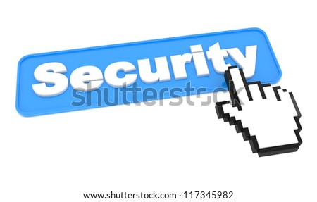 Security Button with Hand Shaped Cursor on White Background.