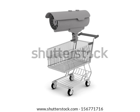 Security cam and shopping cart - stock photo