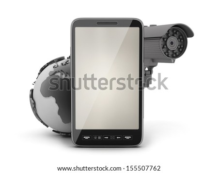 Security cam, earth globe and cell phone - stock photo