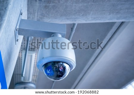 Security Camera, CCTV on location at airport  - stock photo