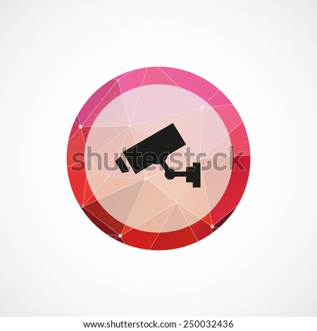 security camera circle pink triangle background icon, isolated on white background  - stock photo