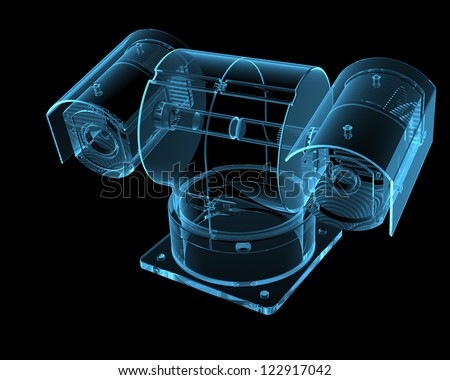 Security camera (3D x-ray blue transparent) - stock photo