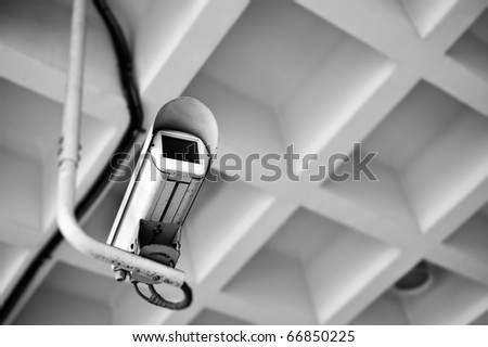 Security camera in the public place of buildings. - stock photo