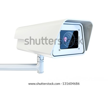 security camera isolated on a white background - stock photo
