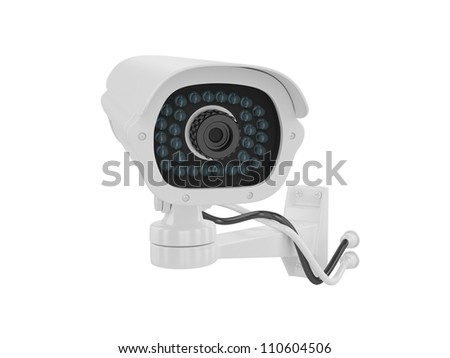 Security camera on a white background, 3D image