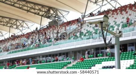 security-camera  on stadium - stock photo