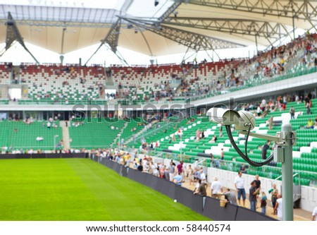 security-camera  on stadium - stock photo