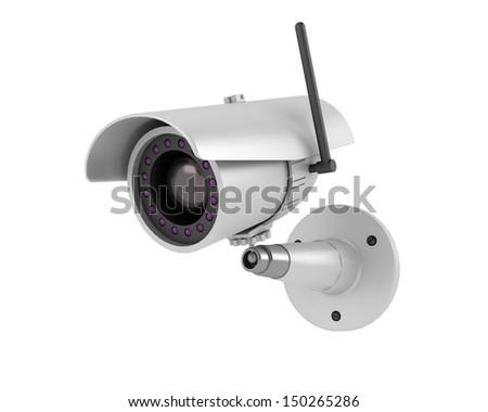 security camera on white background - stock photo