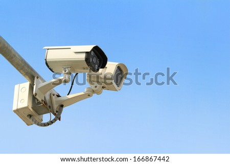 Security camera with blue sky
