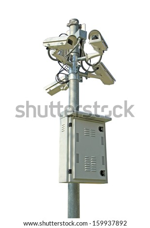 Security cameras and control box isolated on white background  - stock photo