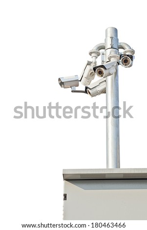 Security cameras isolated on white